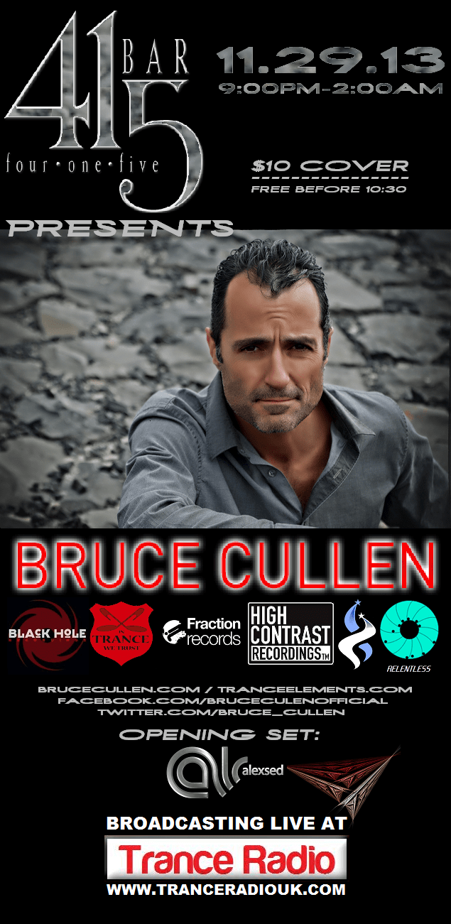 Bruce Cullen to Spin at Bar 415 - Omaha Nebraska. Event Date: Friday, November 29, 2013 at 9PM till 2AM